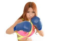 Härlig asiatisk kvinna i rosa färger med blåa boxninghandskar Royaltyfri Foto