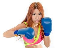 Härlig asiatisk kvinna i rosa färger med blåa boxninghandskar Royaltyfri Fotografi