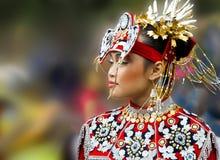 Härlig asiatisk kvinna, nationell klänning blured bakgrund royaltyfria foton