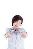 Härlig asiatisk kvinna som visar hennes finger Arkivfoto