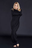 Härlig attraktiv sexig blond kvinna som in gör yogasammanträde Fotografering för Bildbyråer