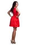 Härlig bärande klänning för modemodell Royaltyfria Bilder