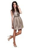 Härlig bärande klänning för modemodell Royaltyfri Fotografi
