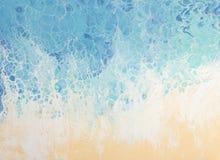 Härlig bakgrund av vätskeakryl i blått och vit på canv royaltyfria bilder