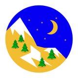 Härlig bakgrund för julvinterlandskap Julskogträn med berg Lägenhetdesign för nytt år, vektor royaltyfri illustrationer