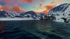 Härlig bakgrund för motivation för inspiration för landskap för berg för bergsolnedgångvinter under floden lager videofilmer