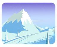 Härlig bakgrund för vinterlägenhetlandskap vektor illustrationer