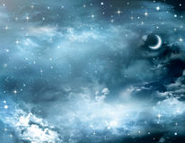 Härlig bakgrund, nightly himmel Arkivbilder