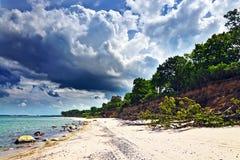 Härlig baltisk sandig strand och dramatiska moln royaltyfri bild