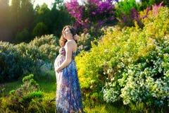 Härlig bedöva gravid kvinna i fantastisk sommarklänning Begrepp av havandeskap, hälsa, familj Royaltyfri Foto
