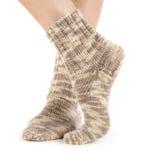 Härlig benkvinna med sockor Royaltyfri Bild