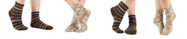 Härlig benkvinna med sockor Fotografering för Bildbyråer