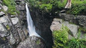 Härlig bergflod med vattenfallet i skog lager videofilmer