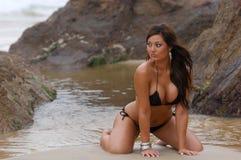 härlig bikiniflicka Arkivfoto