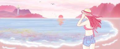 Härlig bikiniflicka för illustration som strosar på strandön av Hawaii som håller ögonen på soluppgången, seagull som framme flyg stock illustrationer