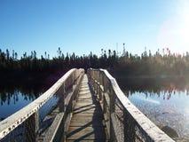Härlig bild av bron över vatten på solnedgången Royaltyfri Foto