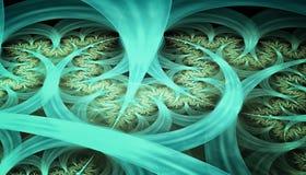 Härlig blå bakgrund av glödande partiklar och linjer med djup av fältet och bokeh 3d illustrationen, 3d framför royaltyfri illustrationer