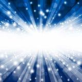 Härlig blå bokehbakgrund med strålar Royaltyfria Bilder