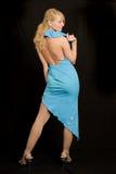 härlig blå klänningkvinna Royaltyfri Foto