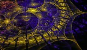 Härlig blå och gul bakgrund av glödande partiklar och linjer med djup av fältet och bokeh 3d illustration, 3d stock illustrationer