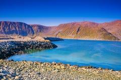 härlig blå seascape för illustration 3d Mageroya ö, Norge Arkivbilder