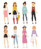 Härlig blick för modeller för flicka för vektortecknad filmmode vektor illustrationer