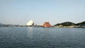 Härlig blick till den Zhuhai operahuset arkivfoton