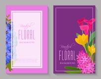 Härlig blom- bakgrund för blomsterhandlar eller inbjudankort Härlig ljus prydnadvektorillustration royaltyfri illustrationer
