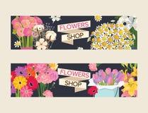 Härlig blom- bakgrund för bukettvektor med uppsättningen för blomning för blomningblommaillustration av den blommiga tulpan på va royaltyfri illustrationer