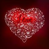 härlig blom- hjärtaillustrationvektor Arkivfoto