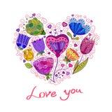 härlig blom- hjärtaillustrationvektor Vektor Illustrationer