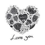 härlig blom- hjärtaillustrationvektor Stock Illustrationer