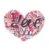härlig blom- hjärtaillustrationvektor Hand dragen idérik blomma Hälsningbakgrund på dag för valentin` s Festmåltid av förälskelse Arkivbild