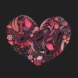 härlig blom- hjärtaillustrationvektor Hand dragen idérik blomma Hälsningbakgrund på dag för valentin` s Festmåltid av förälskelse Royaltyfri Foto