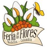 Härlig blom- ordning bak bandet för colombianska blommor festival, vektorillustration Arkivfoton
