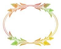 Härlig blom- oval ram med lutningpåfyllningen Arkivbild