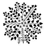 härlig blom- prydnad Monokromt vektorferiekort Royaltyfri Fotografi