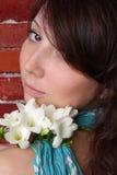 härlig blommakvinna arkivbilder