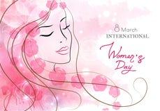 härlig blommakvinna Vattenfärgrosa färgbakgrund Fostra s-dag, 8 marscherar, skönhet, stil vektor illustrationer