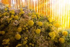 Härlig blommaordning i `-blomman för fader`-aktivitet för att att vara medvetent av hans majestätkonung Bhumibol Adulyadej på Pak Royaltyfria Foton