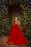 Härlig blond flicka i en lyxig röd klänning arkivbilder