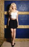 Härlig blond flicka i en sexig svart kjol Fotografering för Bildbyråer
