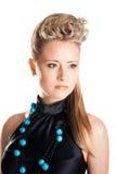härlig blond flicka isolerad makeupwhite Arkivfoto