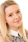 Härlig blond flicka med bruna ögon Fotografering för Bildbyråer