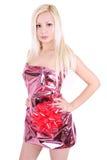 Härlig blond flicka som slås in som en present Royaltyfria Foton
