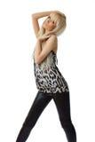 härlig blond flickawhite för bakgrund fotografering för bildbyråer