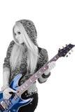 härlig blond gitarr arkivfoto