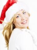 härlig blond julkvinna Royaltyfri Bild