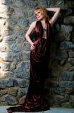 härlig blond klänningaftonflicka Arkivfoton