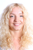 härlig blond kvinna Arkivbild